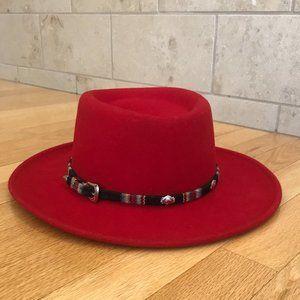 Vintage Red Felt Boho Southwestern Wide Brim Hat